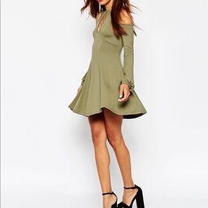 ASOS Green Cold Shoulder Keyhole Skater Dress Sz 4